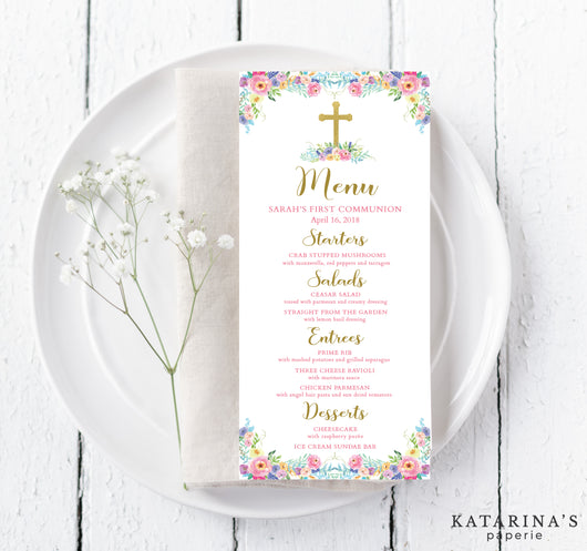 Colorful Watercolor First Communion Menu Cards