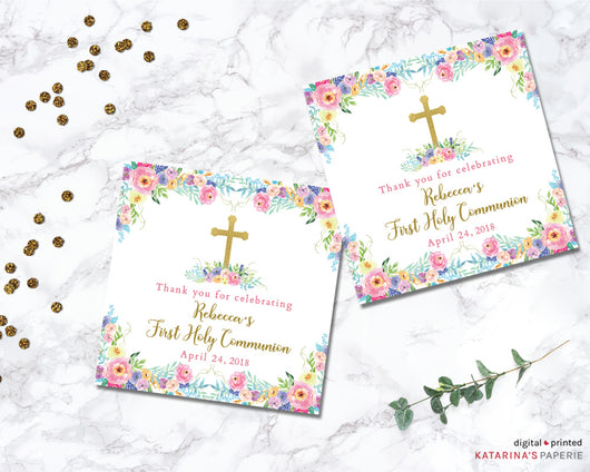 Colorful Watercolor Floral First Communion or Baptism Favor Tags