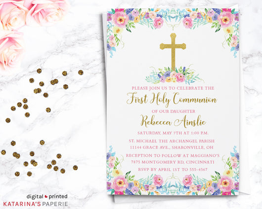Colorful Watercolor First Communion Invitation