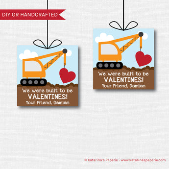 Construction Crane Valentine Tags