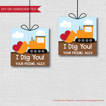I Dig You Bulldozer Valentine Tags
