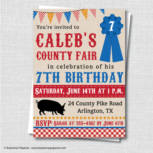 Boy County Fair Birthday Invitation