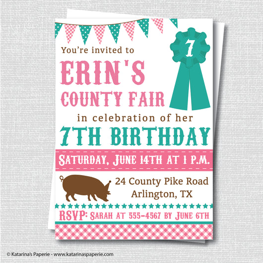 Girl County Fair Birthday Invitation