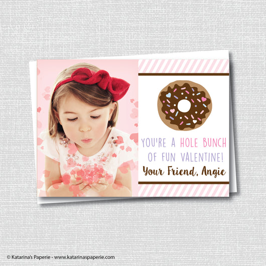 Girl Donut Valentine's Day Photo Card