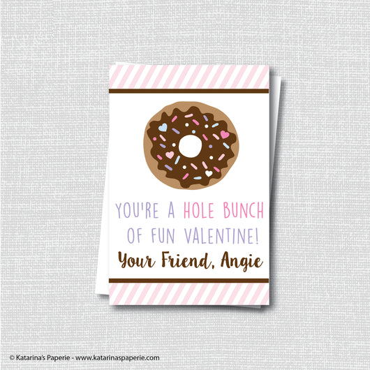 Girl Donut Valentine's Day Card