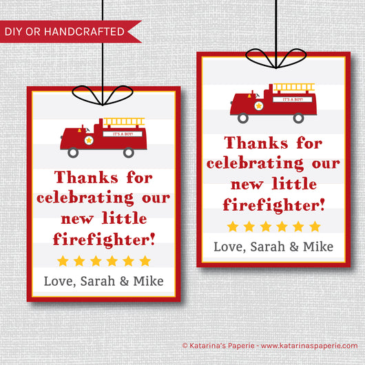 Fire Truck Baby Shower Favor Tags