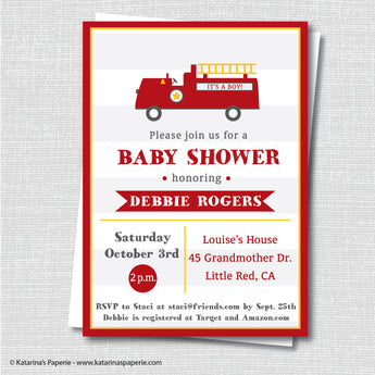 Fire Truck Baby Shower Invitation