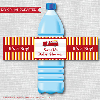 Fire Truck Baby Shower Water Bottle Labels