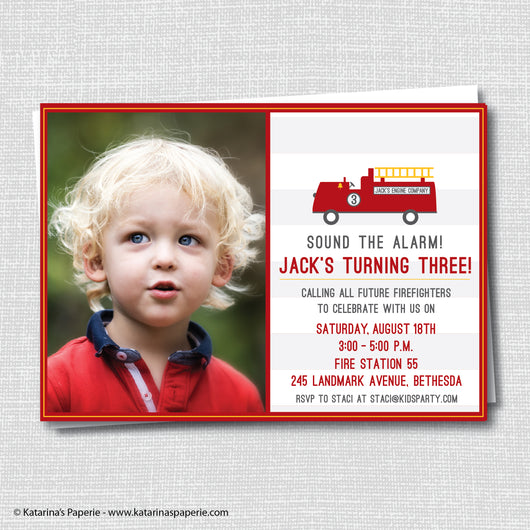 Fire Truck Birthday Photo Invitation