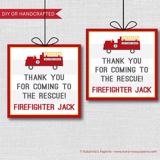 Fire Truck Birthday Favor Tags