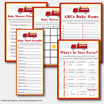 Fire Truck Baby Shower Games Set