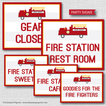 Fire Truck Party Signs Set (Instant Download)