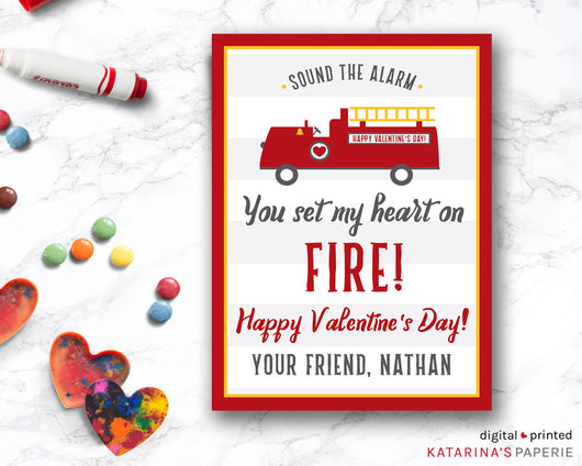 Fire Truck Valentine's Day Card
