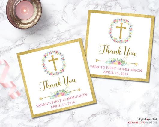 Gold Foil Cross First Communion or Baptism Favor Tags