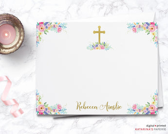 Colorful Watercolor Floral Thank You Note
