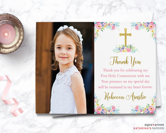 Colorful Floral Photo Thank You Note