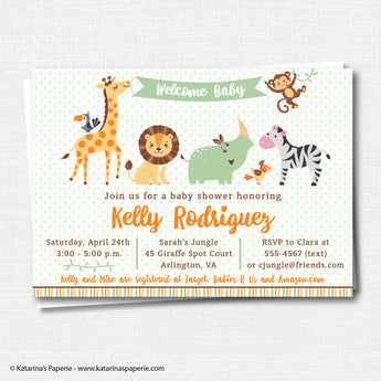 Gender Neutral Jungle Baby Shower Invitation