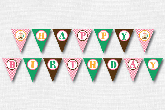 Girl Barnyard Happy Birthday Banner - DIY