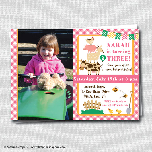 Girl Barnyard Birthday Photo Invitation