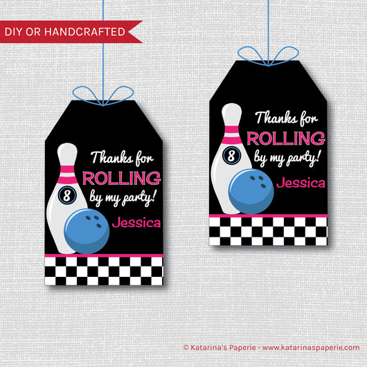 Girl Bowling Birthday Favor Tags