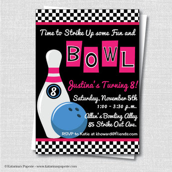 Girl Bowling Birthday Invitation