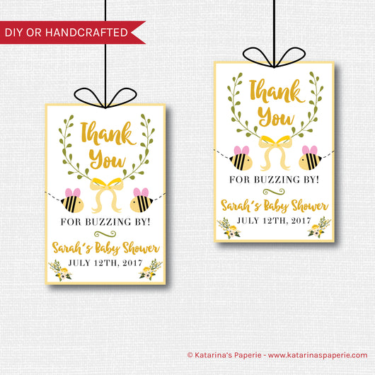 Girl Bumblebee Baby Shower Favor Tags