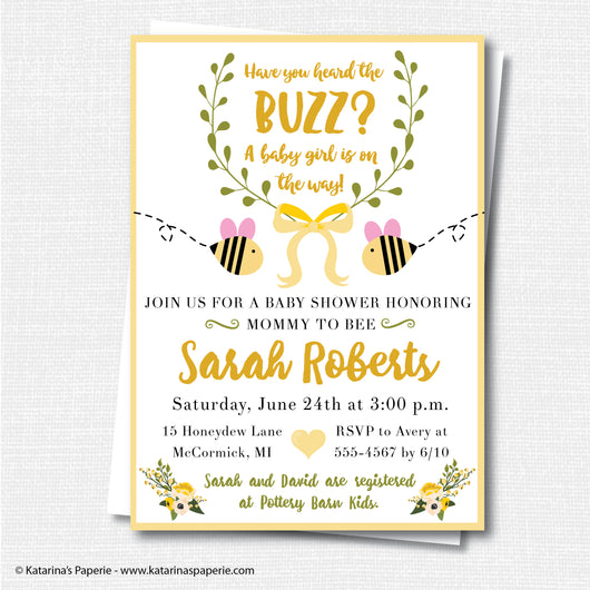 Girl Bumblebee Baby Shower Invitation