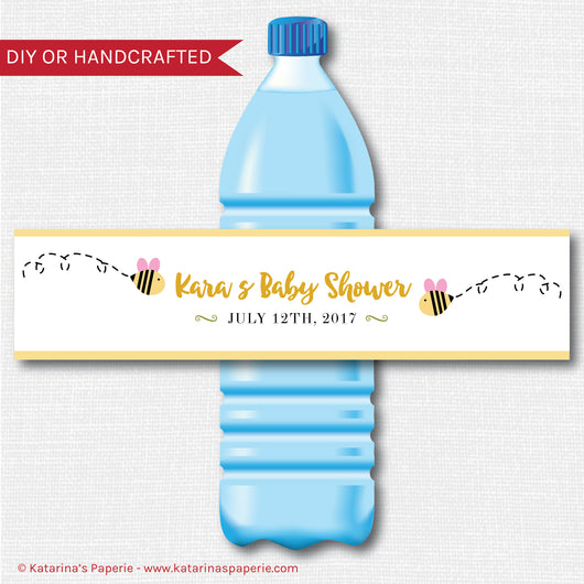 Girl Bumblebee Baby Shower Water Bottle Labels