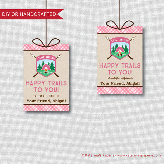 Girl Camping Birthday Favor Tags
