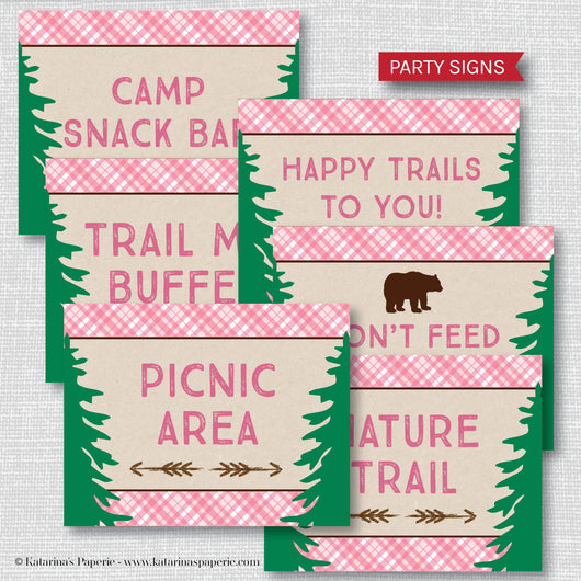 Girl Camping Party Signs Set (Instant Download)