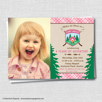 Girl Camping Birthday Photo Invitation