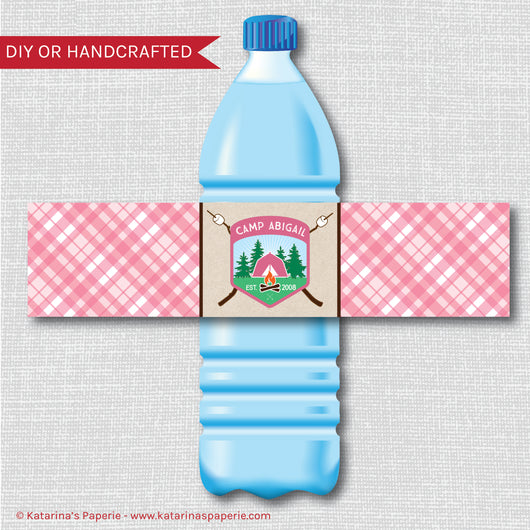Girl Camping Water Bottle Labels