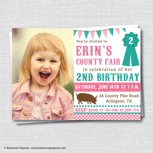 Girl County Fair Birthday Photo Invitation