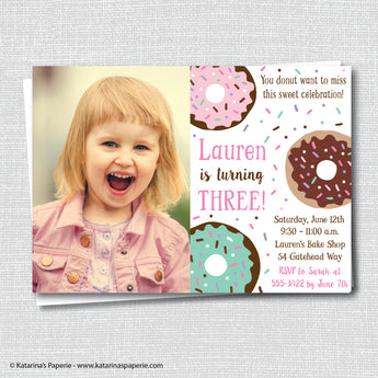 Girl Donut Birthday Photo Invitation