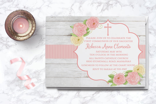 Rustic Floral Watercolor First Communion Invitation