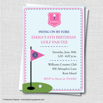 Girl Golf Birthday Invitation