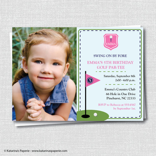 Girl Golf Birthday Photo Invitation