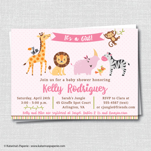 Girl Jungle Baby Shower Invitation
