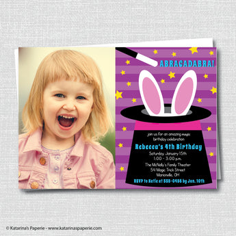 Girl Magic Birthday Photo Invitation