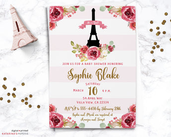 Pink Floral Paris Baby Shower Invitation