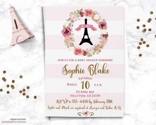 Floral Paris Baby Shower Invitation