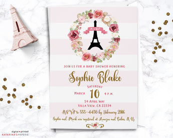 Paris Floral Baby Shower Invitation