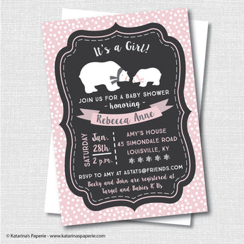 Girl Polar Bear Baby Shower Invitation