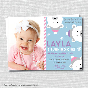 Girl Polar Bear Birthday Photo Invitation