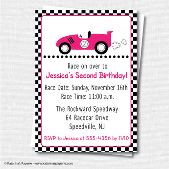 Girl Race Car Birthday Invitation
