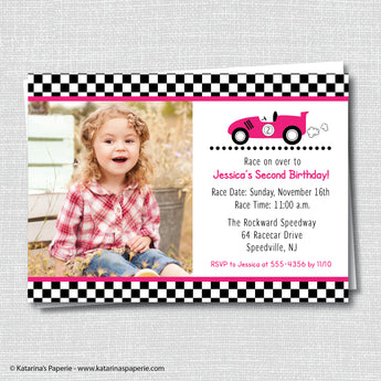 Girl Race Car Birthday Photo Invitation
