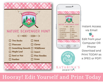 Editable Girl Nature Scavenger Hunt