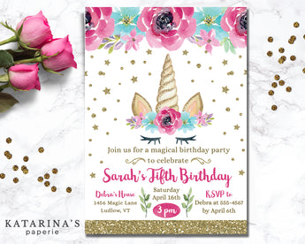 Pink Unicorn Horn Birthday Invitation