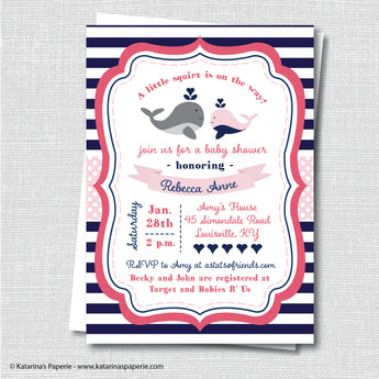 Girl Whale Baby Shower Invitation