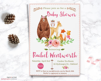 Girl Woodland Animal Baby Shower Invitation
